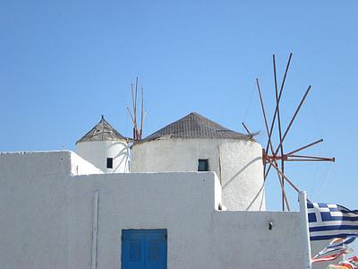 Santorini, Grčki otok, Grčka, marinac, vjetrenjača
