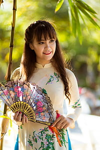 the lunar new year, long coat, vietnam, women, ao dai, spring, one person