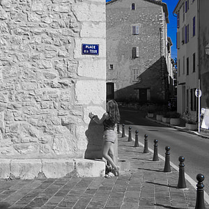 girl, street, blue, woman, young, female, young woman