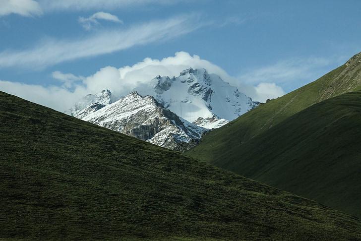 mountains, landscape, snow mountain, green grass, scenery, mountain landscape, sunshine