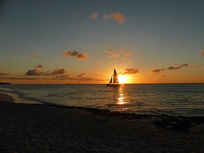 일몰, 태양, abendstimmung, 태양과 바다