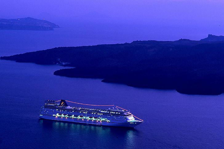 reisilaev, Ocean, Sea, öö, tuled, vee, kalda
