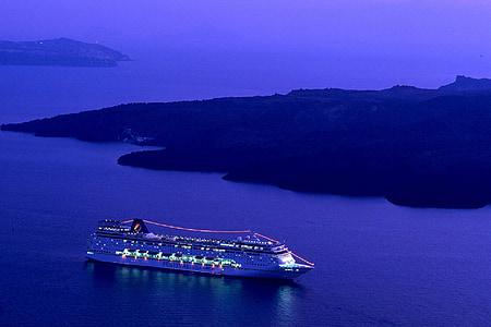kryssningsfartyg, Ocean, havet, natt, lampor, vatten, Shore