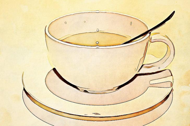 цифрові, графіка, кухоль, Кубок, ложка, чай, оновлення