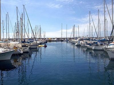 hamn, båtar, fartyg, Frakt, Yachts, havet, Anchorage