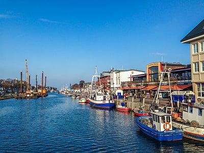 Warnemünde, båtar, helgdagar, Östersjön, hamn, fartyg, vatten