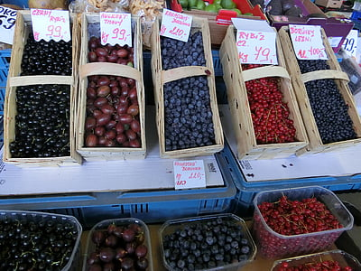 fruits of the forest, market, berries, fruit, fruit stand