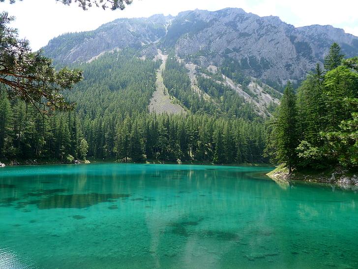 zelené jazero, Štajersko-Rakúsko, meltwater, tyrkysová modrá, smaragdovo zelená, Príroda, Mountain