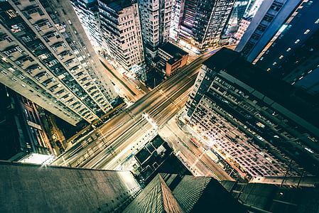 architecture, buildings, city, downtown, night, road, street