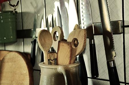 cullera de fusta, ganivet, Estris de cuina, cuinar, cuina, vaixella, pressupost