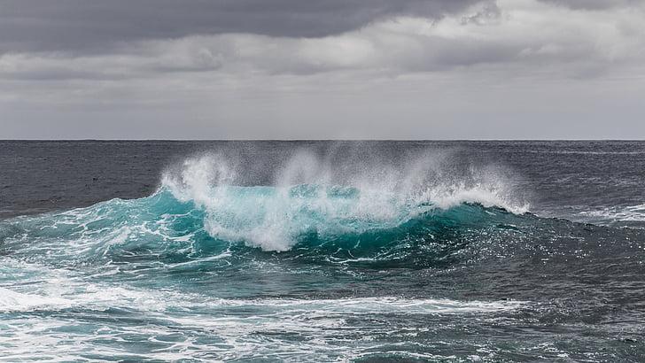 air, laut, La palma, Atlantik, laut, gelombang, Kecantikan di alam