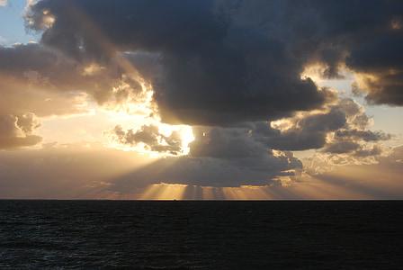 sole, nuvole, tramonto, cielo di sera, sole di regolazione, cielo, Abendstimmung