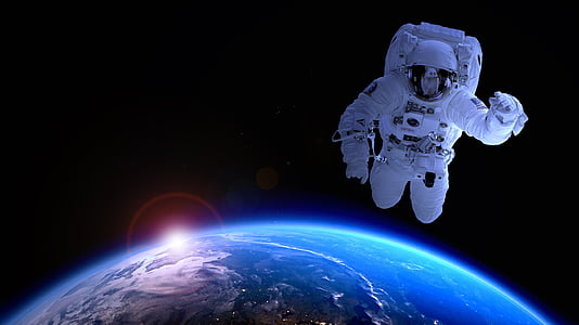 astronauta, l'astronomia, per satèl·lit, Lluna, endavant, viatge espacial, signe del zodíac