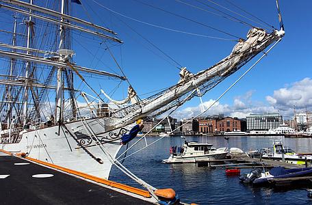 Oslo, Norge, hamn, staden, Oslofjorden, fartyg, resor