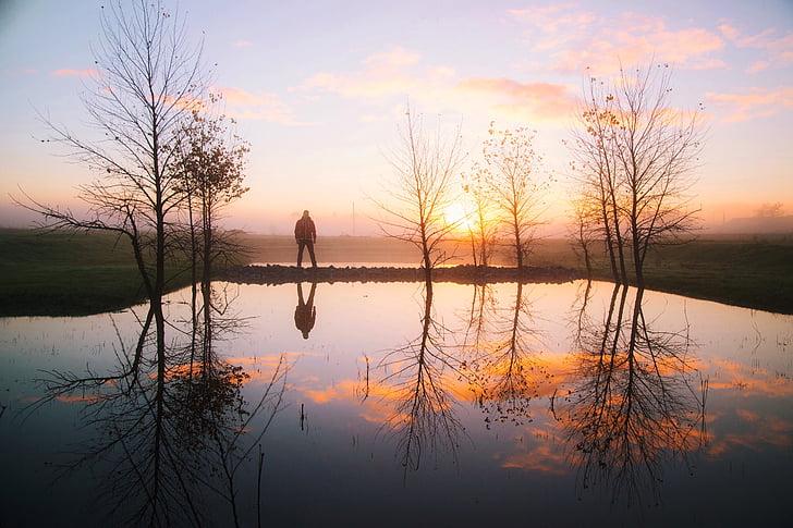 Dawn, skymning, sjön, naturen, Utomhus, reflektion, siluett
