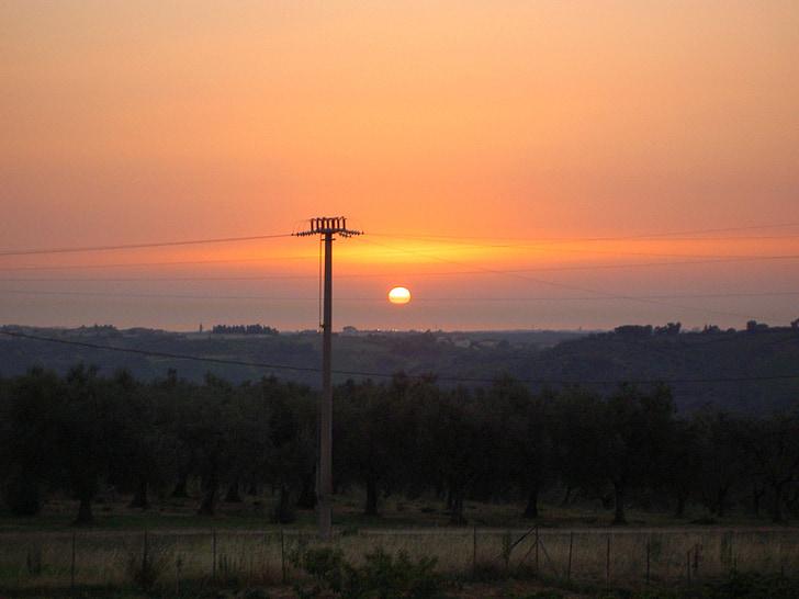 strommast, energia, liini, Sunset