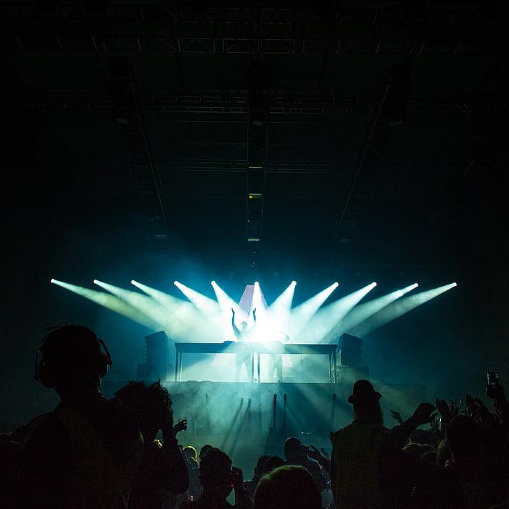artists, audience, band, blue, blur, celebration, club