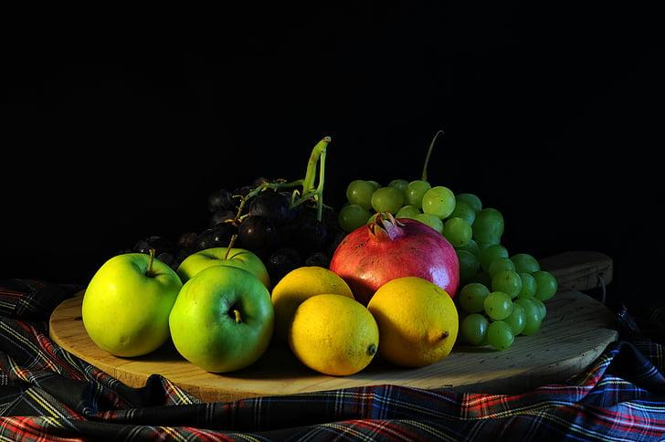 fruita, raïm, llimona, aliments, Poma, magrana, safata