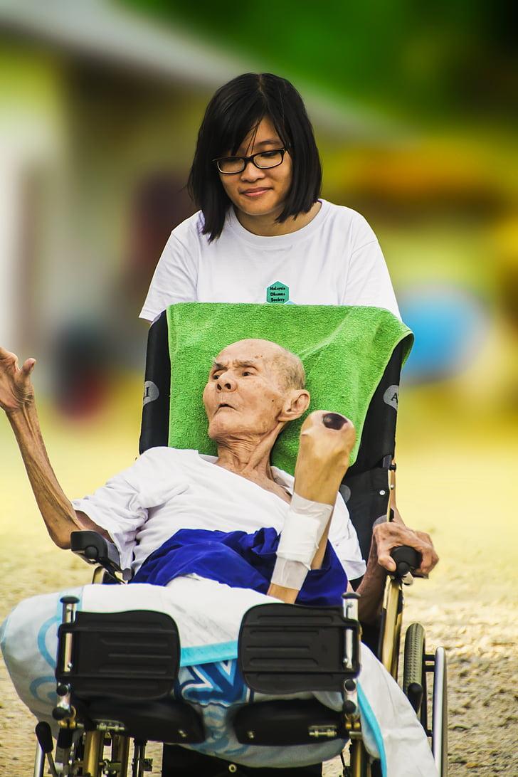 l'hospici, joves i vells, cura, gent gran, vell, l'atenció, pacient