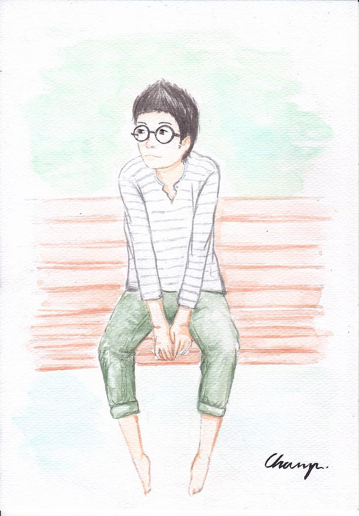 boys, painting, eyewear, young, seat, illustration, people