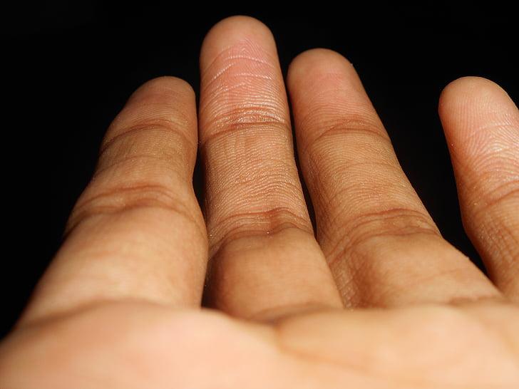 vingers, cijfers, hand, mensen