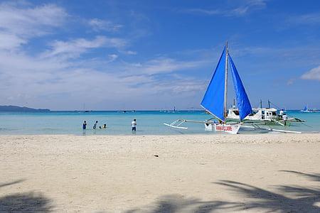 baltas paplūdimys, Boracay, dangus