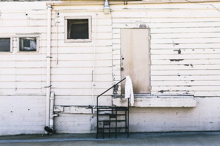 bílá, dřevěný, dveře, den, čas, dům, zeď