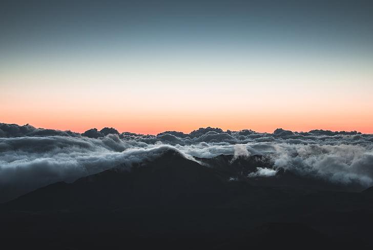 moln, över molnen, Sky, soluppgång, solnedgång, naturen, Mountain