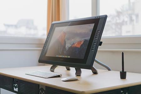 black, flat, screen, monitor, top, brown, table