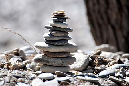 plage, pierres, Samos, Balance, Cairn, Zen, Zen-comme