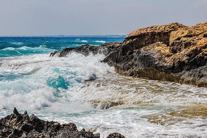 sziklás part, hullám, tenger, természet, táj, Splash, hab
