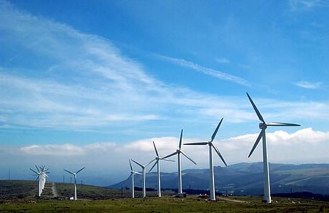 ciutat cap ortegal, Galícia, Molins de vent, energies renovables, parc eòlic, hèlixs, generació d'energia