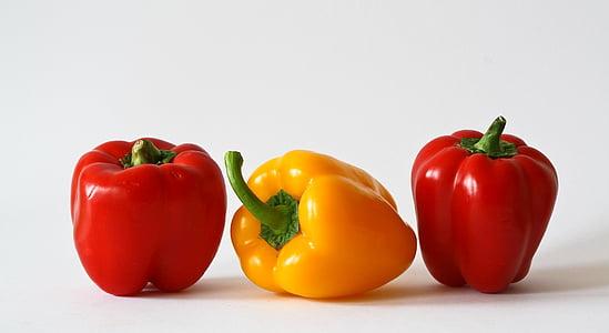 paprika, grøntsager, farverige, mad, rød peber, gul peber, rød