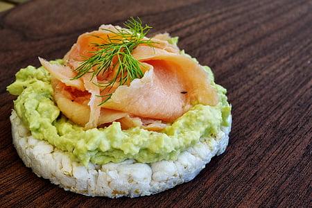 thực phẩm, cá hồi, bánh gạo, cá hun khói, cá, khỏe mạnh, Avocado