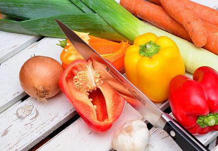 gulerødder, madlavning, mad, mad prep, frisk, kniv, løg