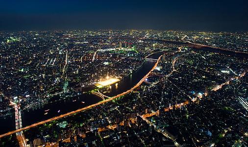 aèria, arquitectura, edificis, ciutat, llums de la ciutat, paisatge urbà, nit