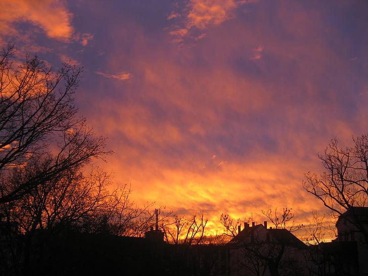 pôr do sol, arrebol, céu, romance