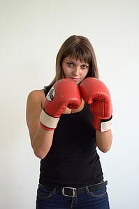 noia, guants, esports, boxa, Guant d'esports, esport, cops de puny