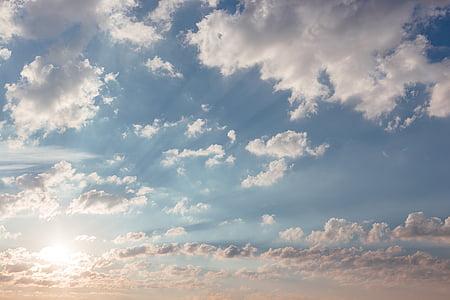 sunlight, sunshine, sunrise, clouds, sky, nature, view