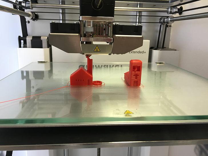 impressora, 3D, pressió, 3D-impressió, maquinària, tecnologia, fàbrica