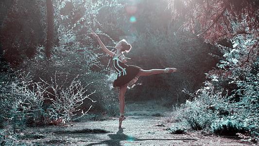 ballett poosi, Tüdruk, jalad, tantsimine, Kaunis, naine, juuksed