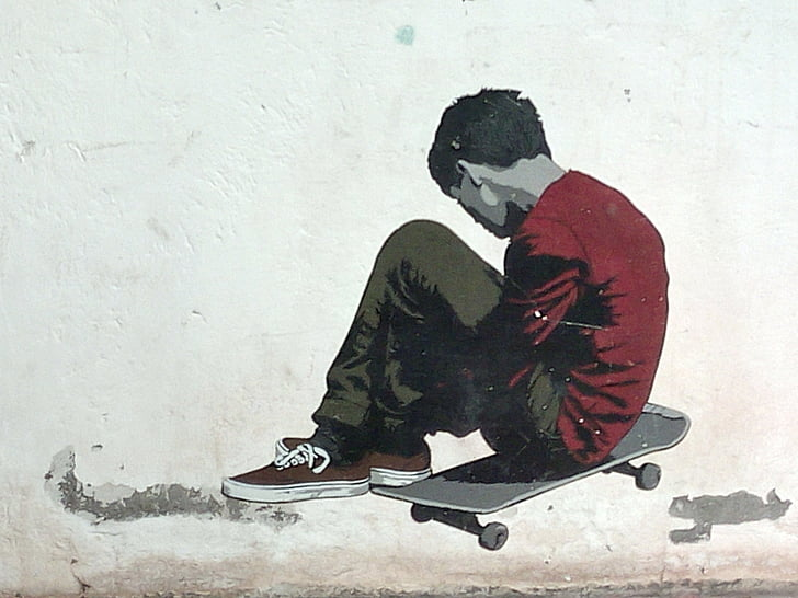 skateboard, graffiti, Spray, deň