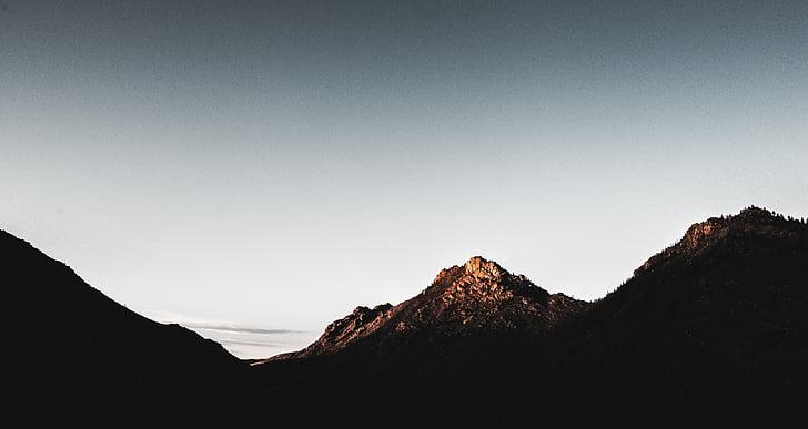 Panorama, silhueta, fotografia, montanha, Início, natureza, paisagem