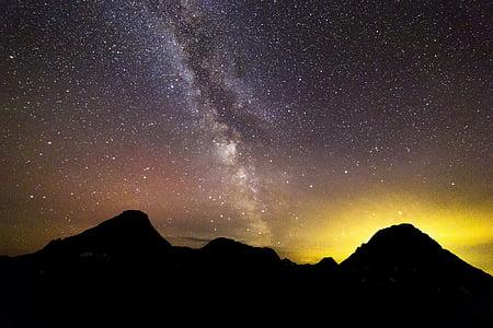 roques, nit, paisatge, silueta, brillantor d'incendis forestals, crema, que brilla