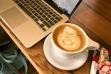 咖啡, 计算机, 咖啡设计, 笔记本电脑