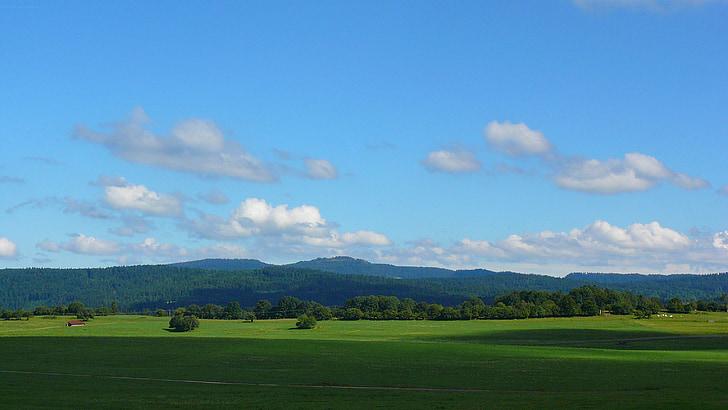 krajolik, prerijska, nebo, oblaci