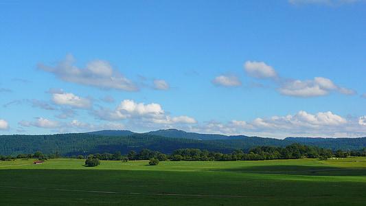 paisatge, Prada, cel, núvols