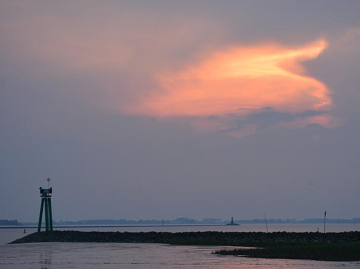 на березі моря, Ельба, abendstimmung, Приморський, міст морем, свята, Захід сонця