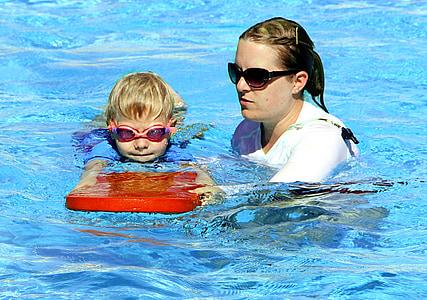 Natació, lliçó, noi, l'aigua, piscina, nedador, piscina