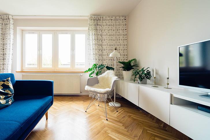 interior, vivint, sala, estil de vida, televisió, sofà, espai